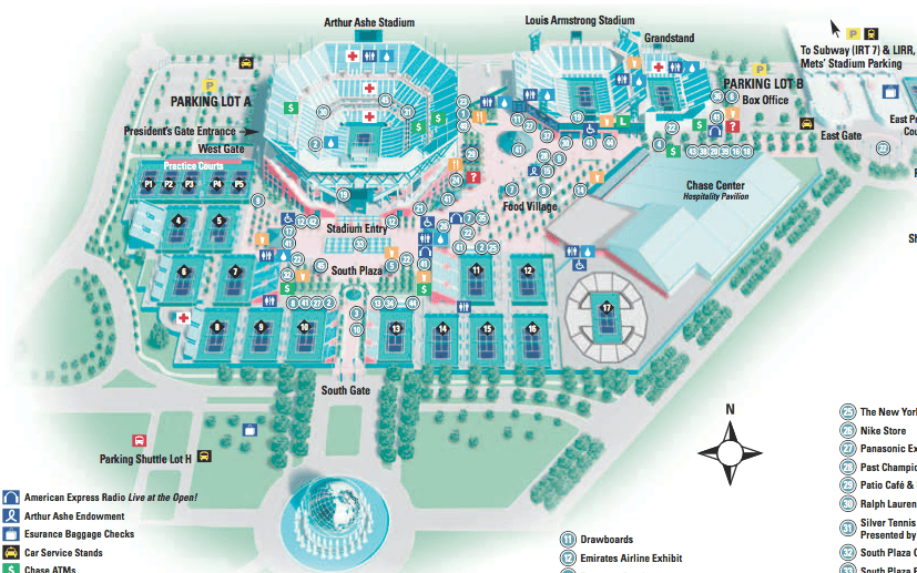 Open Flushing Meadows Map - Map of us open